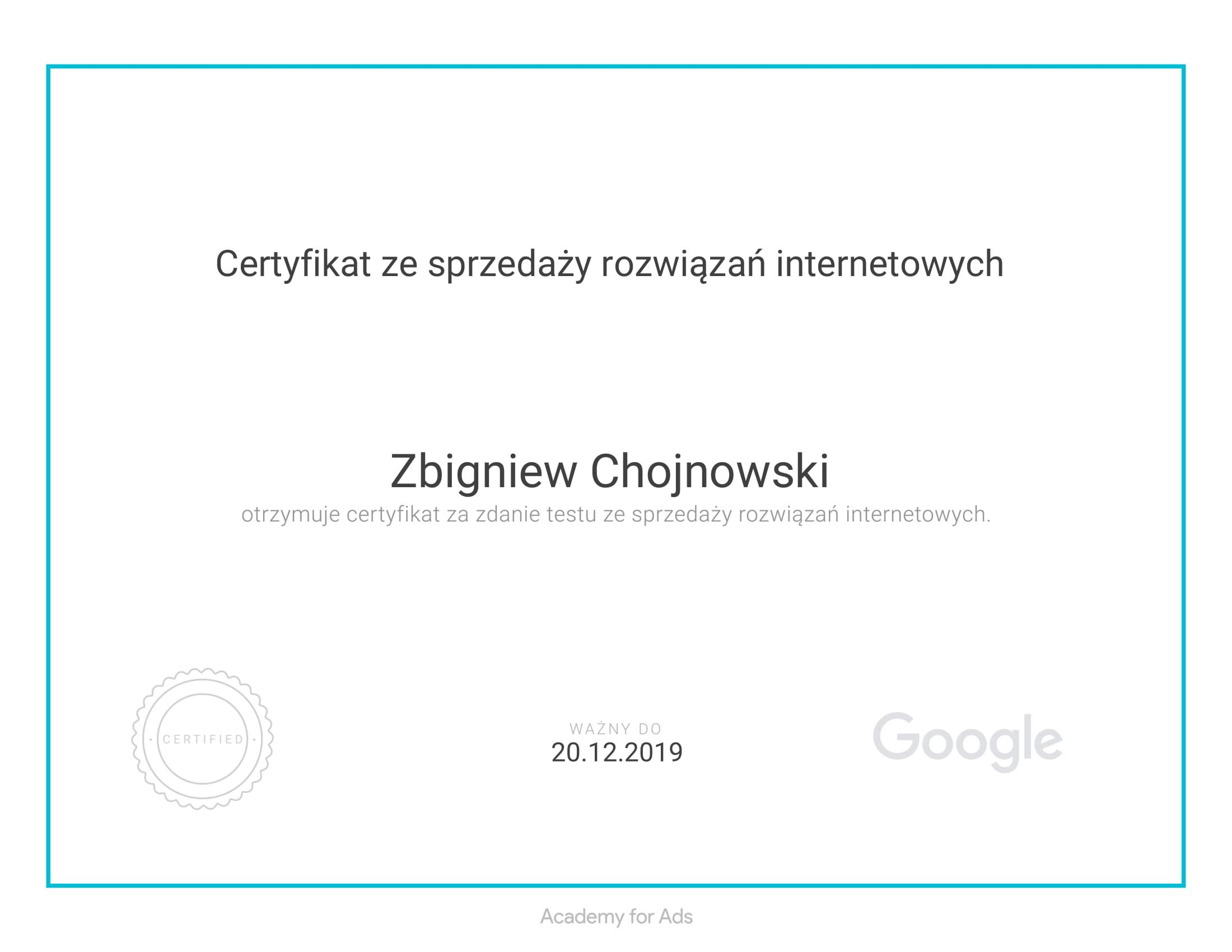 Certyfikat ze sprzedaży rozwiązań internetowych Google