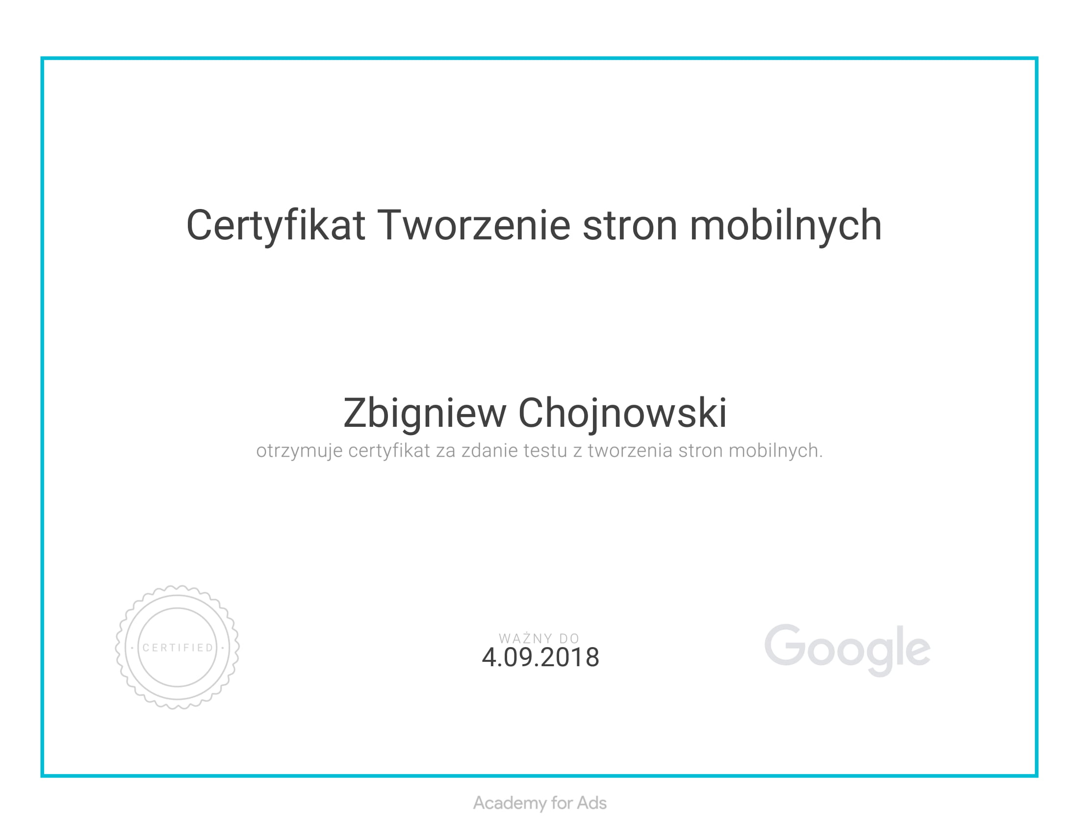 Certyfikat z reklamy mobilnej