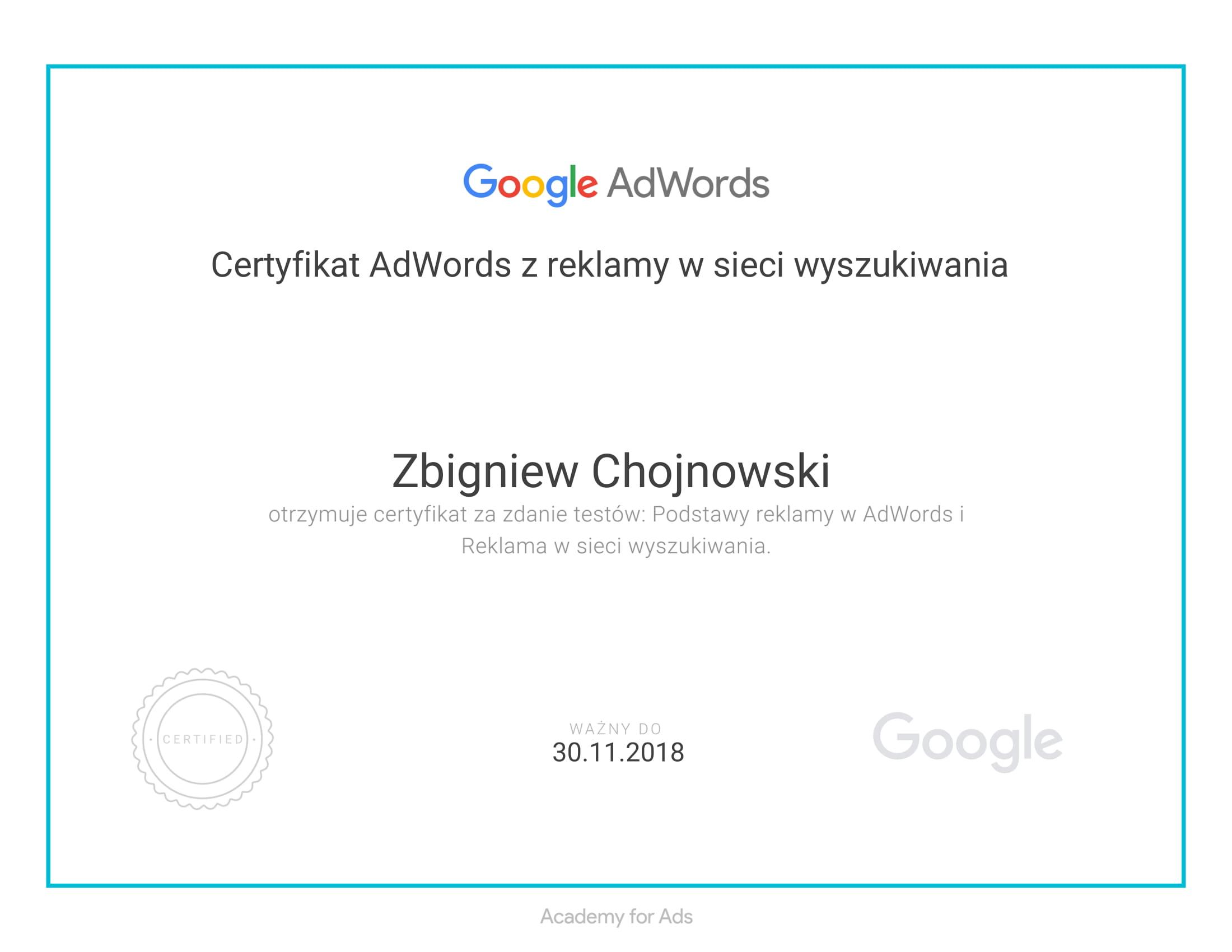 Kwalifikacja indywidualna Google Analitycs