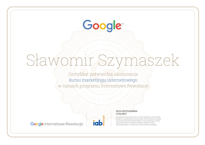 Certyfikat Internetowe Rewolucje
