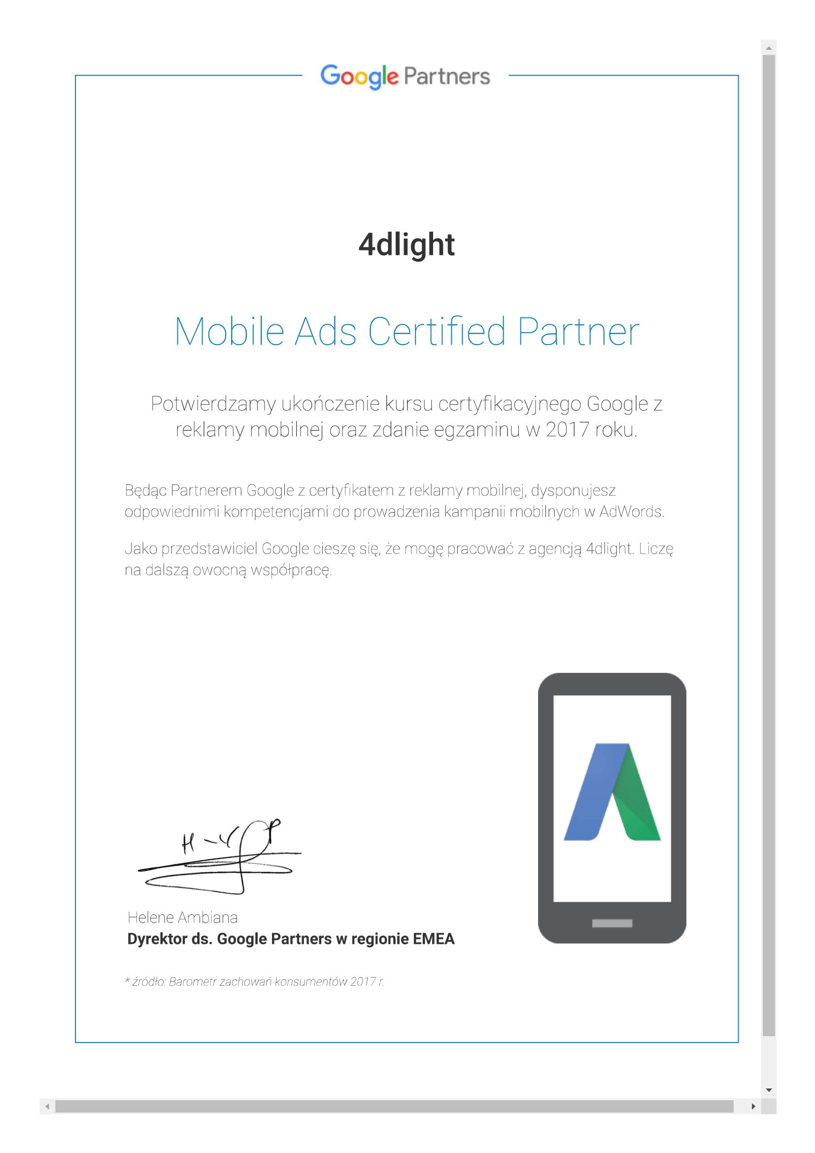 Certyfikat reklamy Mobilnej