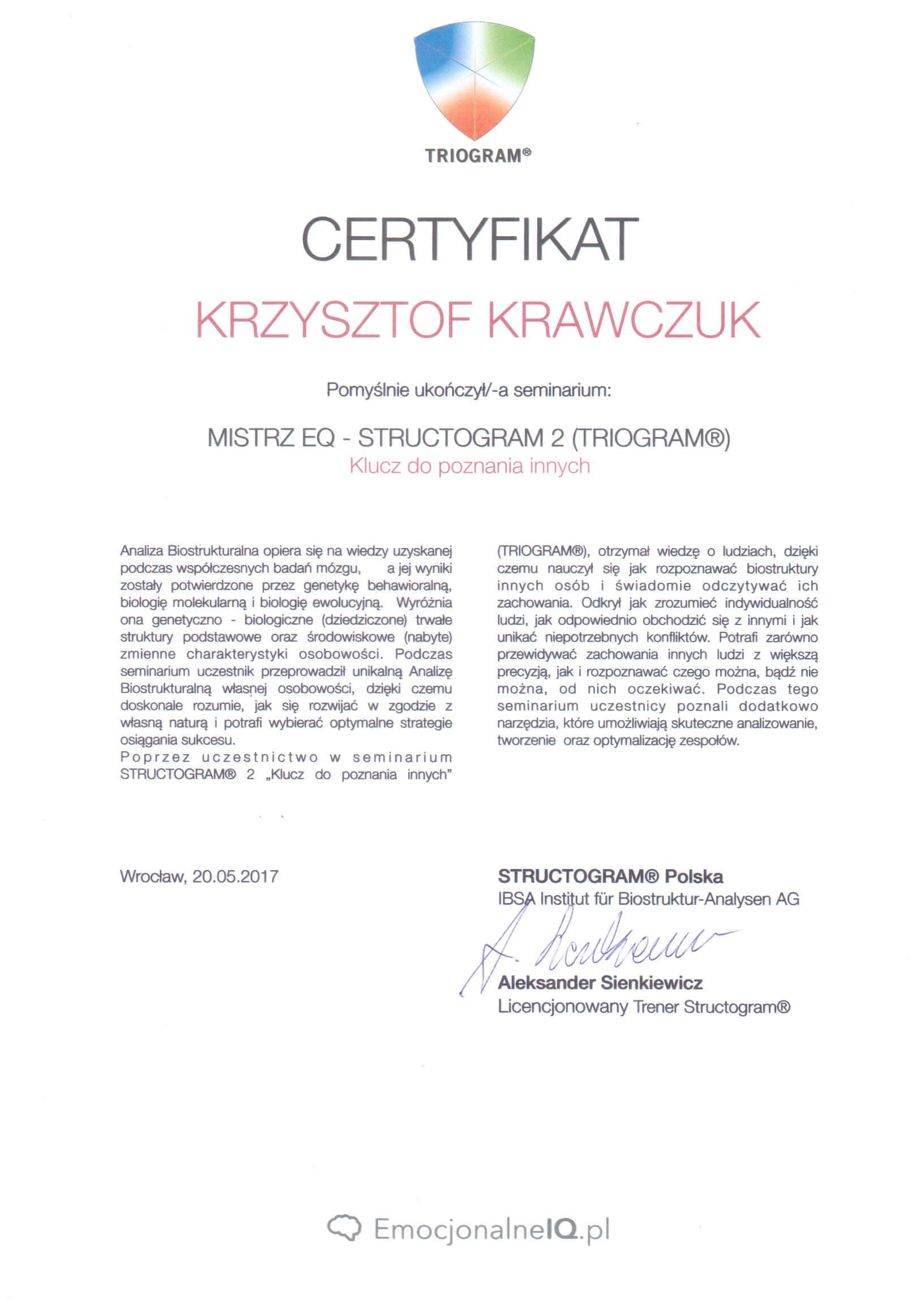 Certyfikat Mistrz EQ Structogram poziom 2