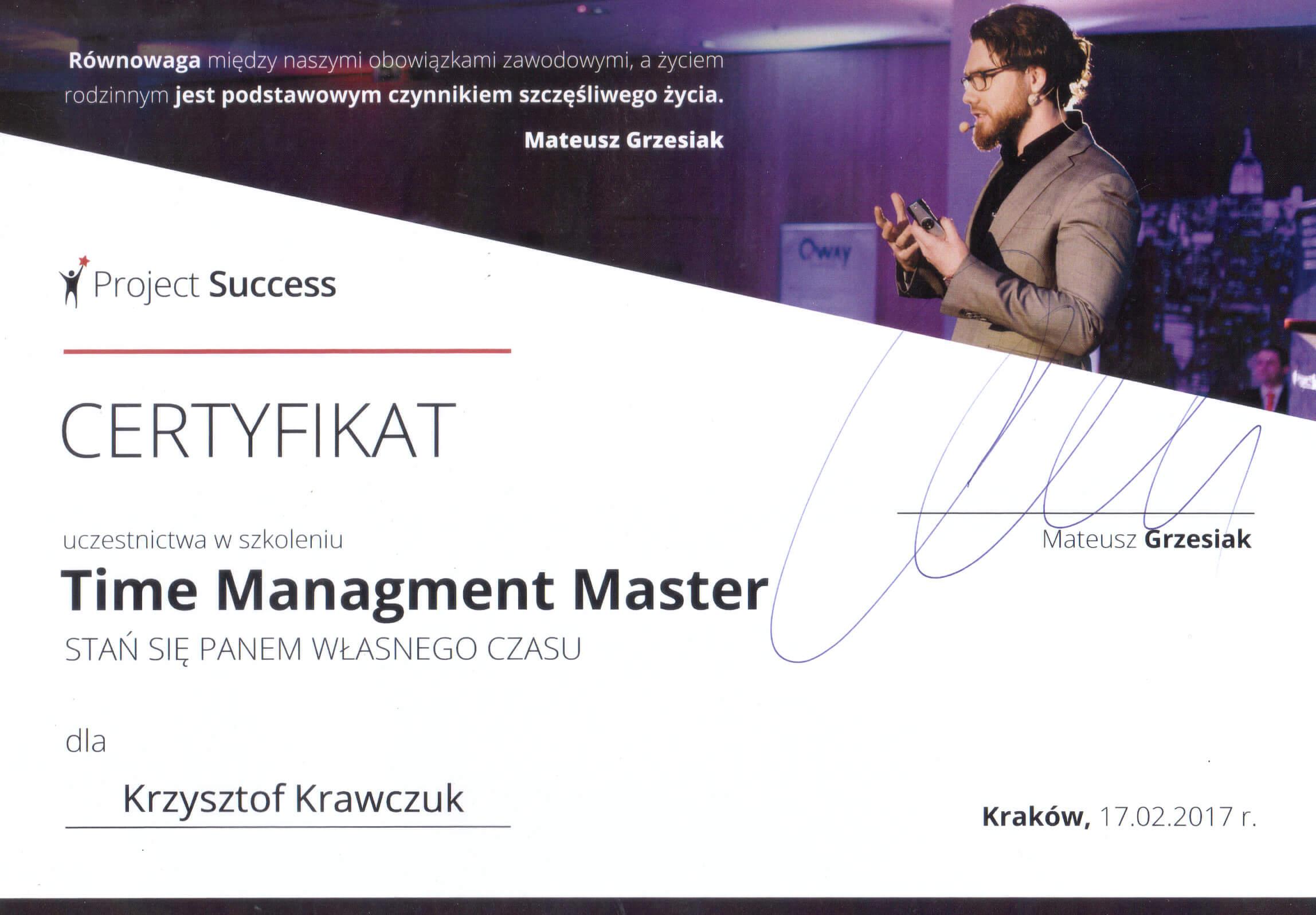 Certyfikat Time management master