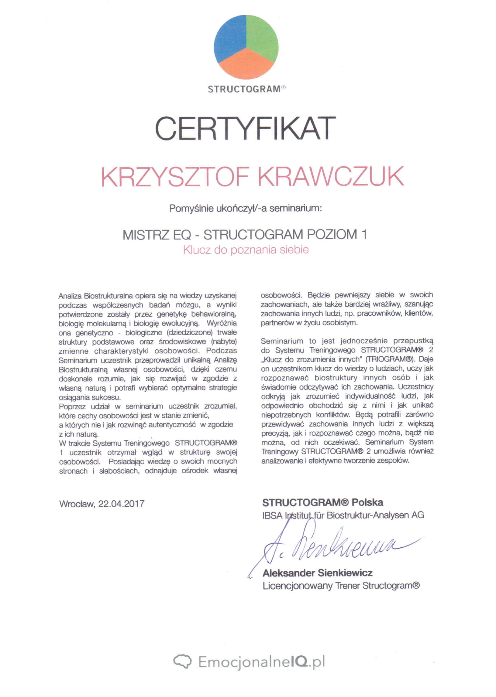 Certyfikat Mistrz EQ  Structogram poziom 1