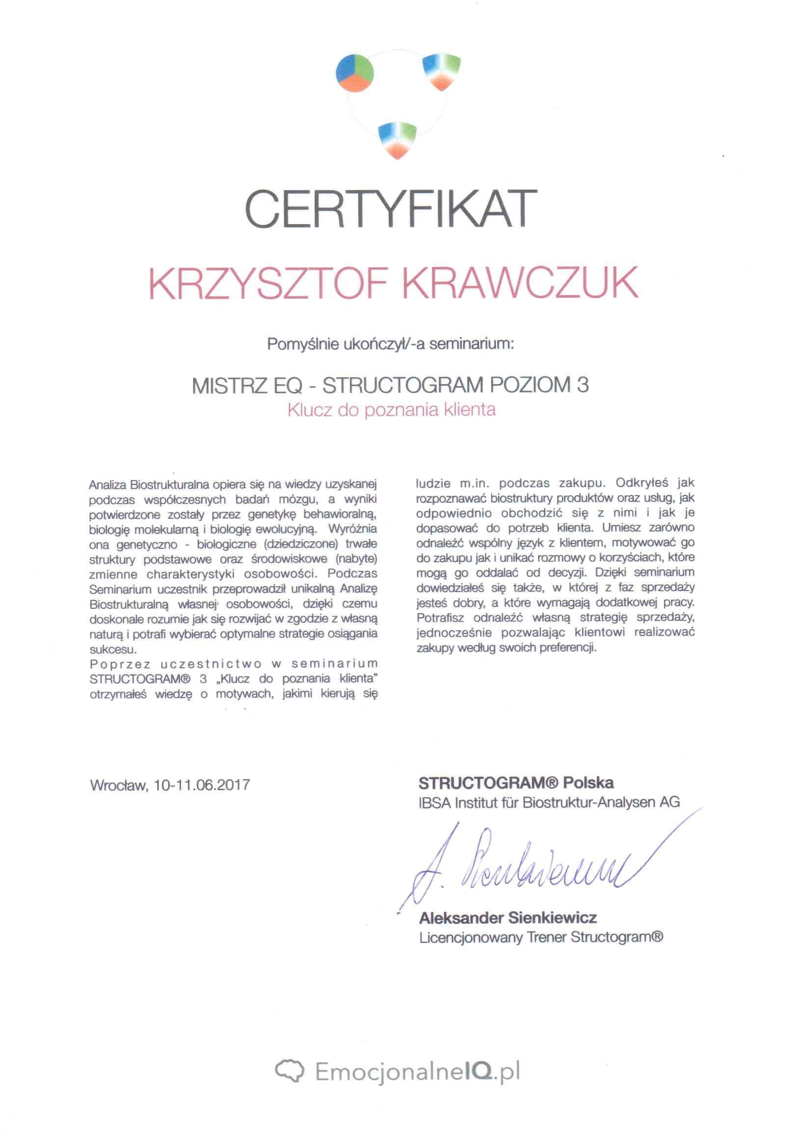 Certyfikat Mistrz EQ Structogram poziom 3