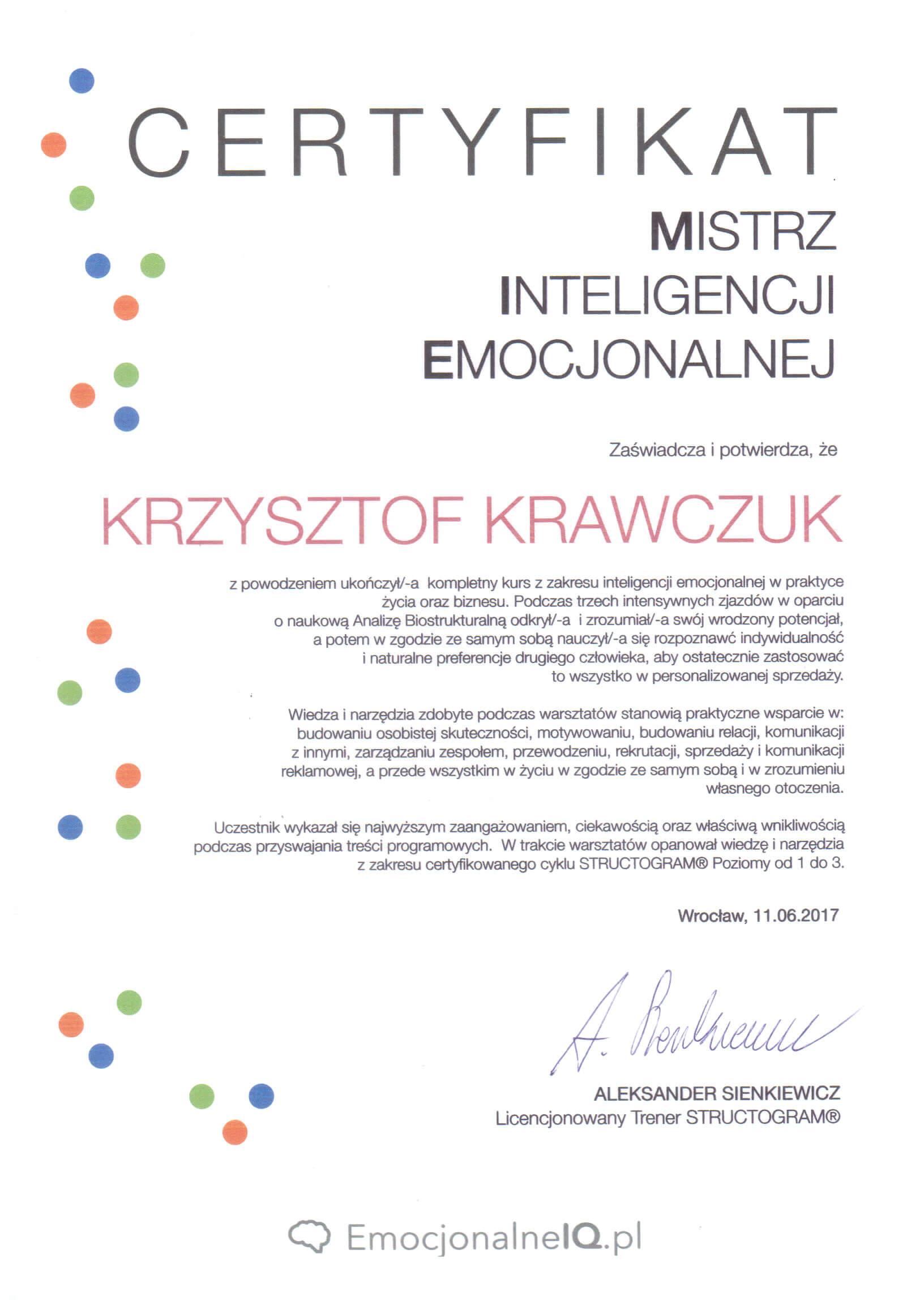 Certyfikat Mistrz Inteligencji Emocjonalnej