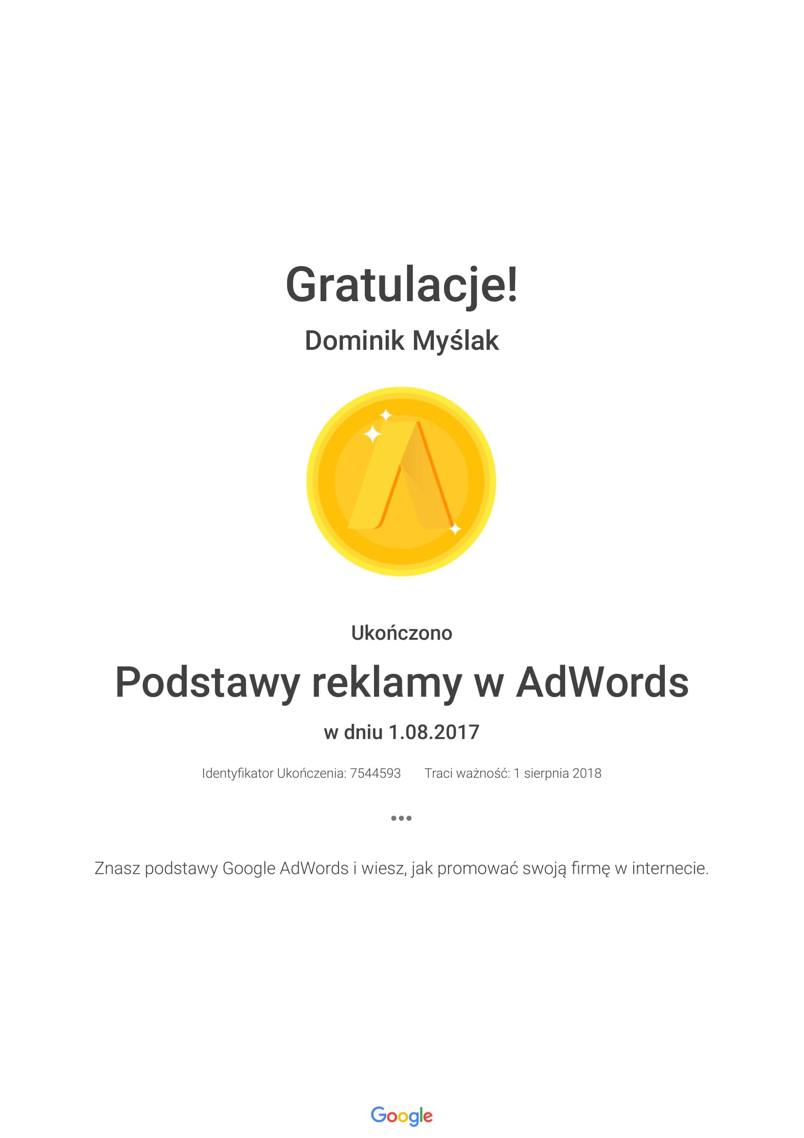 Certyfikat Podstawy Adwords
