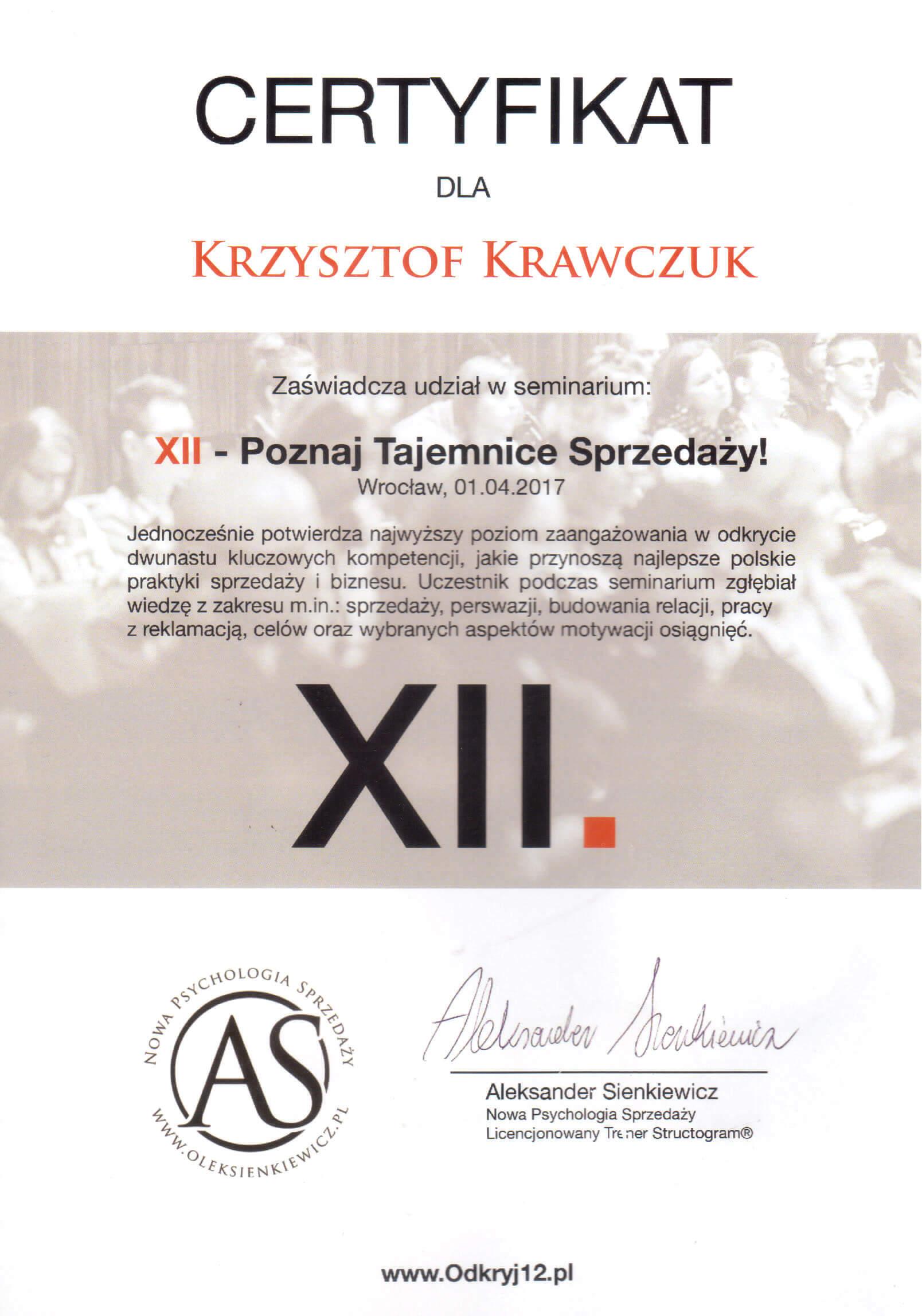 Certyfikat XII Poznaj tajemnice sprzedaży