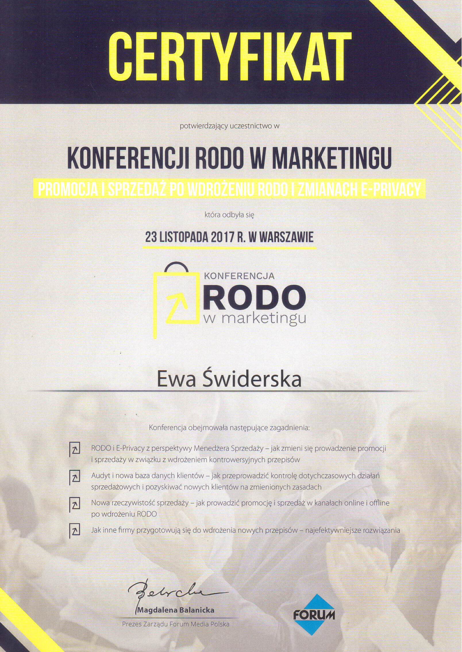 Certyfikat Rodo w marketingu