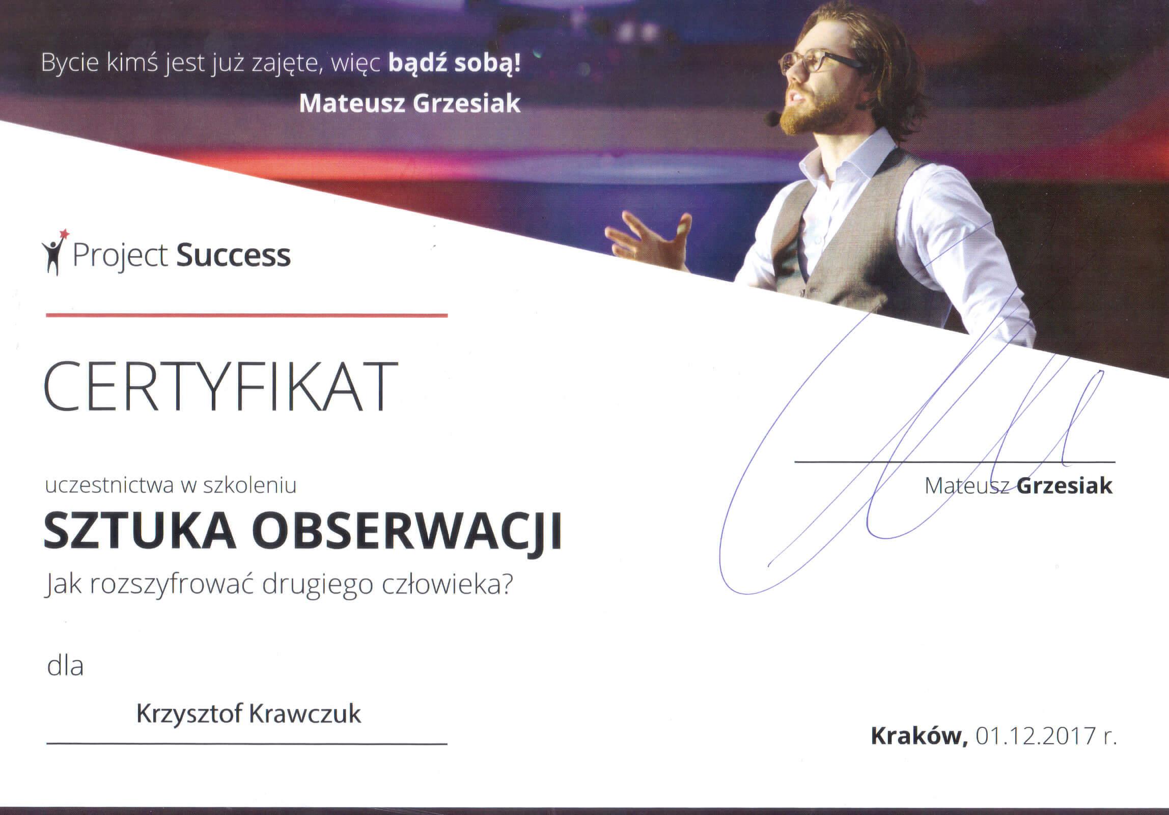 Certyfikat Sztuka obserwacji
