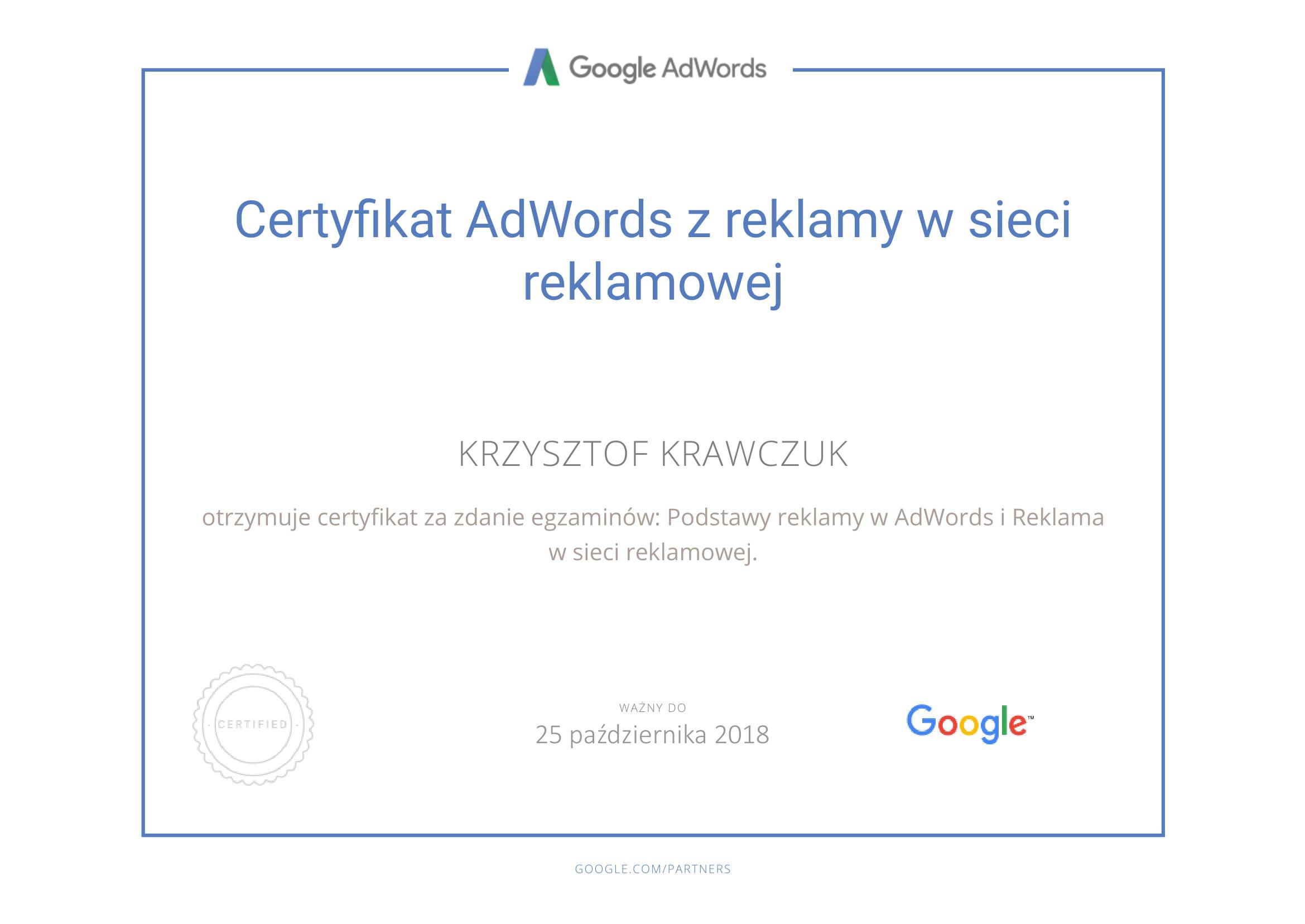 Certyfikat z reklamy w sieciach reklamowych Google