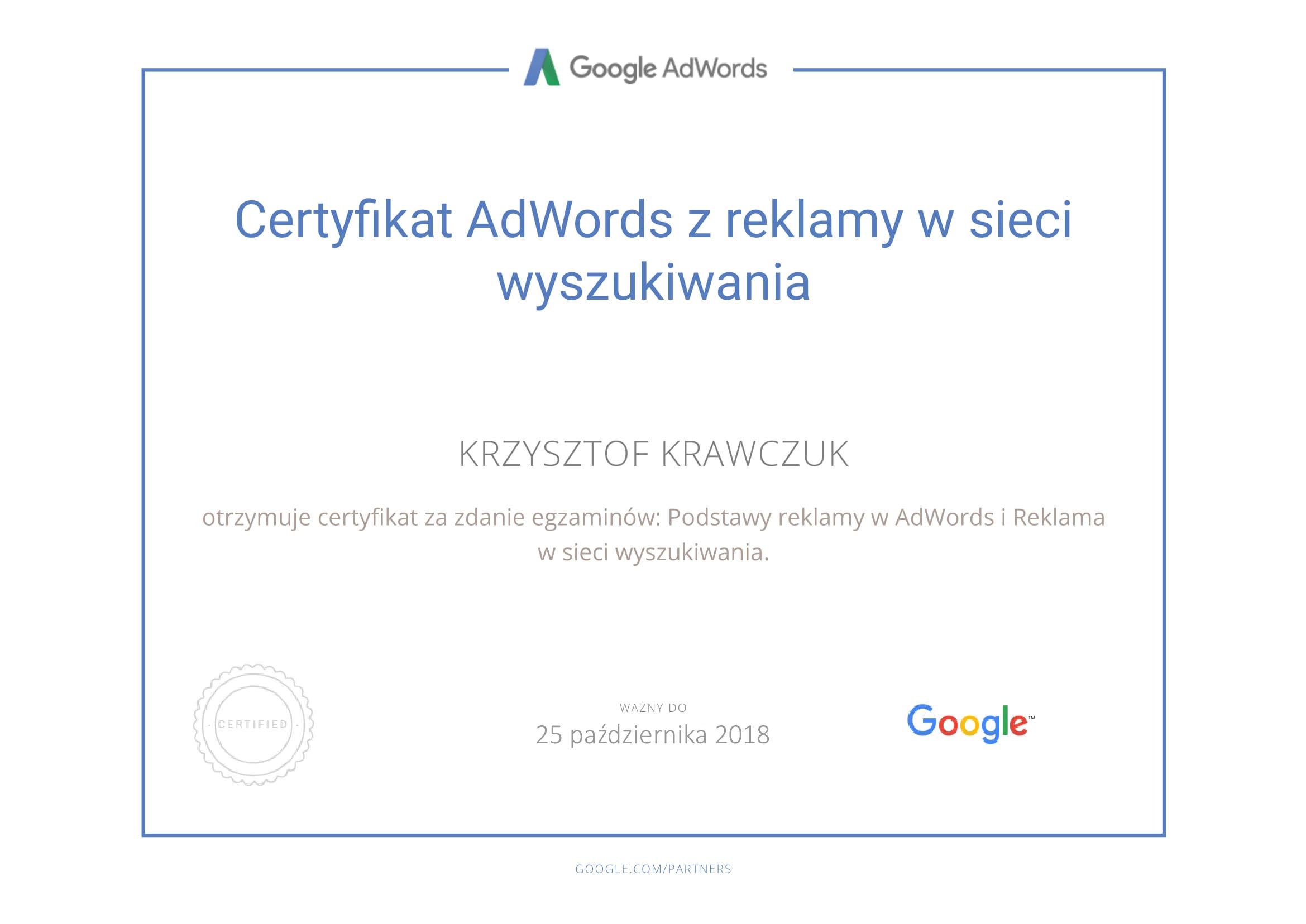 Certyfikat z reklamy w sieciach wyszukiwania Google