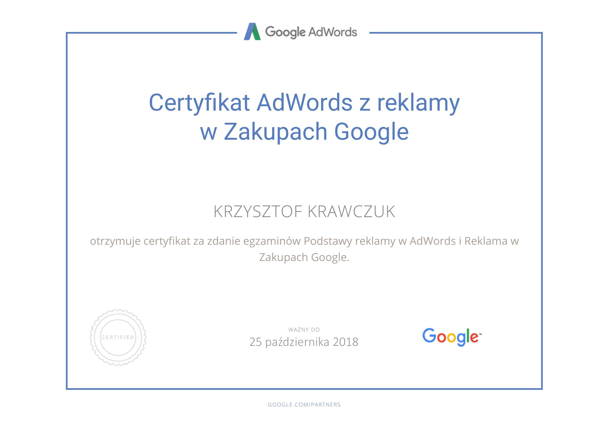 Certyfikat z reklamy w zakupach Google